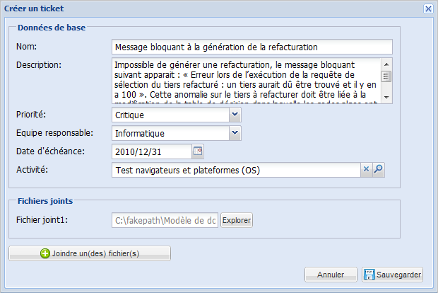 Projectpro inclus une base d'incidents en ligne